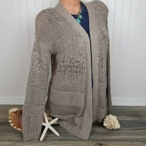 Tommy Bahama cotton blend taupe open cardigan Sz M